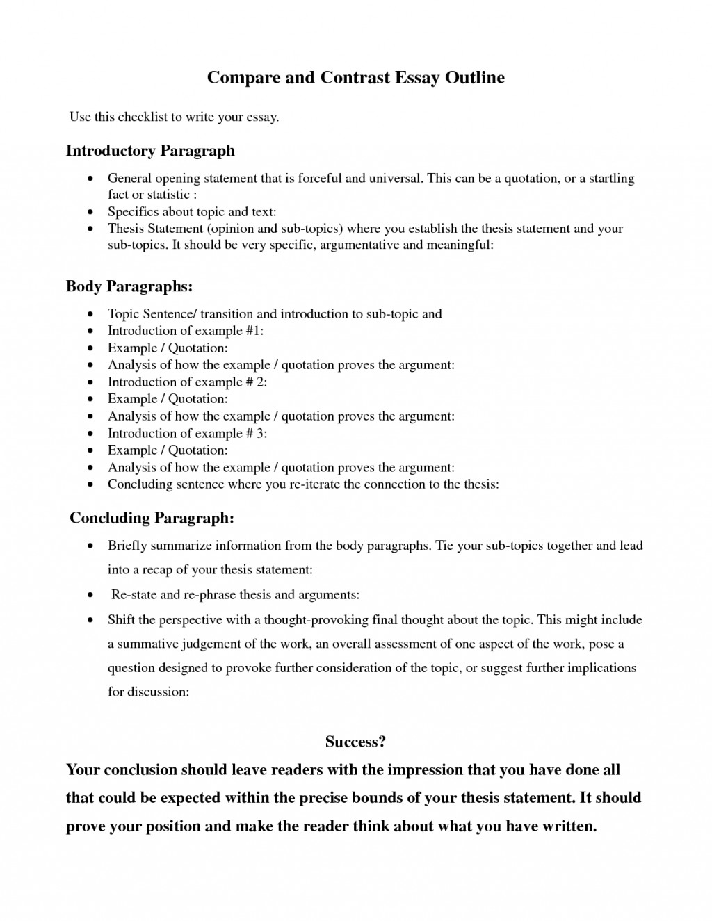 009 Essay Example How To Conclude Compare And Fantastic A Contrast Start Writing Comparison Write Begin Large