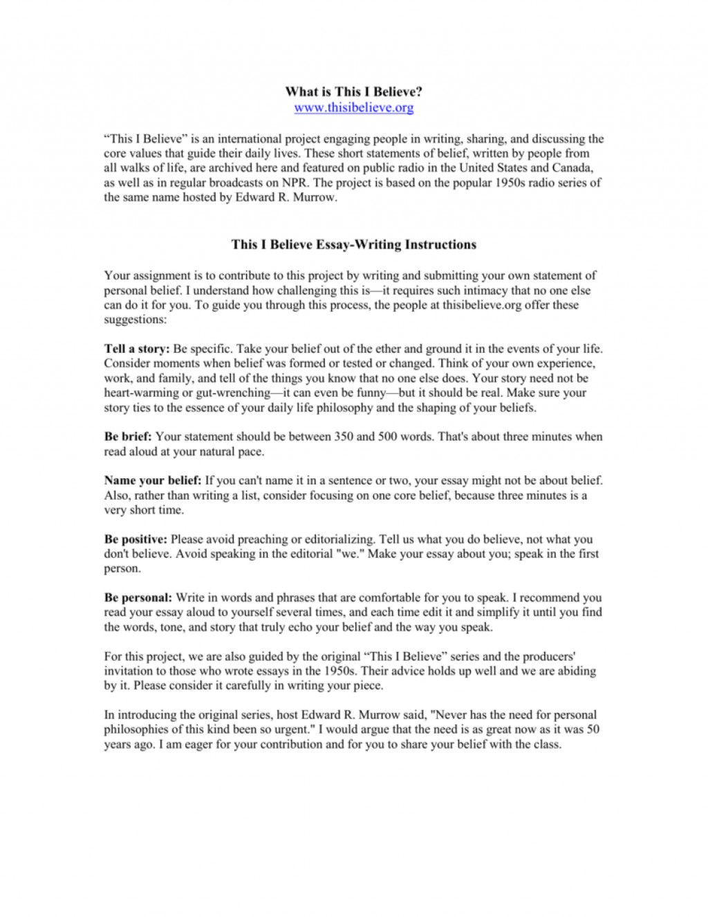 009 Essay Example How To Write This I Believe 008807226 1 Fantastic A What On Things Large