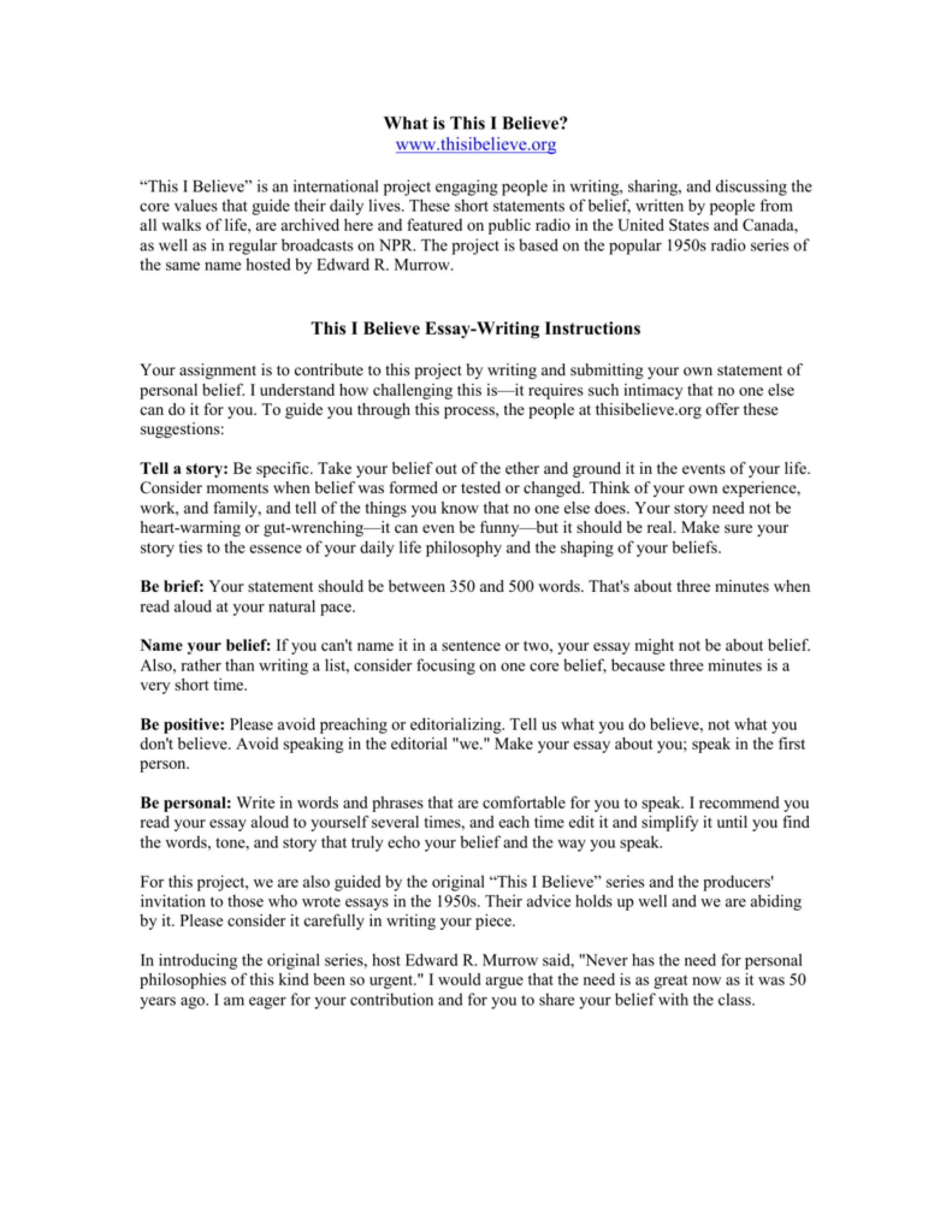 009 Essay Example How To Write This I Believe 008807226 1 Fantastic A Things On What 1920