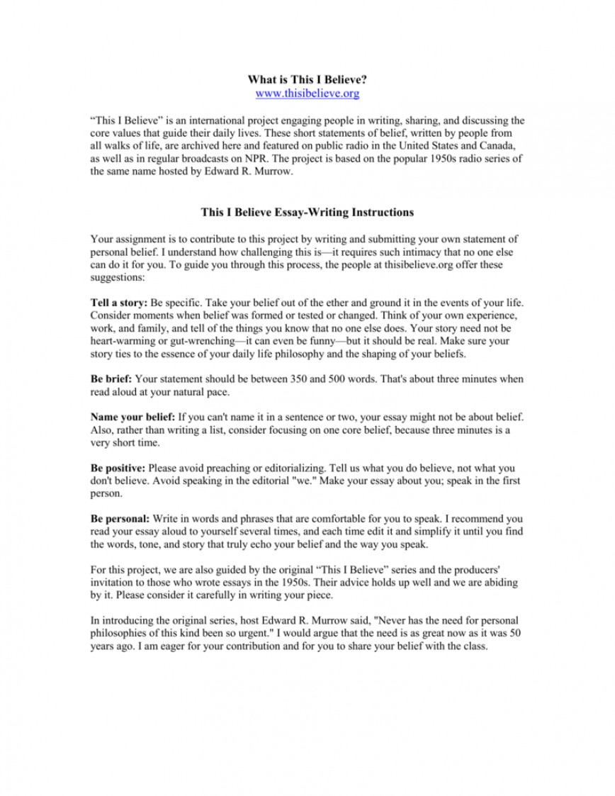 009 Essay Example How To Write This I Believe 008807226 1 Fantastic A Things On What 868