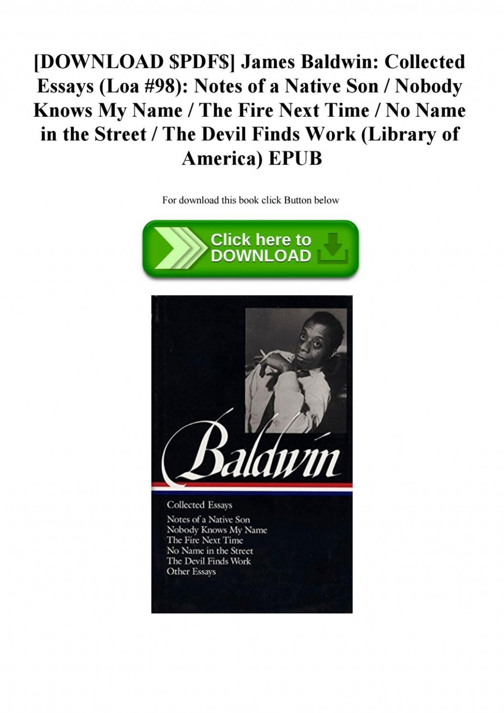 009 Essay Example James Baldwin Essays Pdf Page 1 Imposing Large