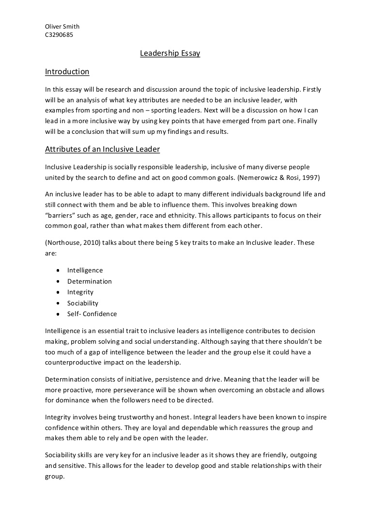 009 Essay Example Leadershipessay Phpapp01 Thumbnail Leadership Unique Examples Personal Philosophy Paper Mba College Full