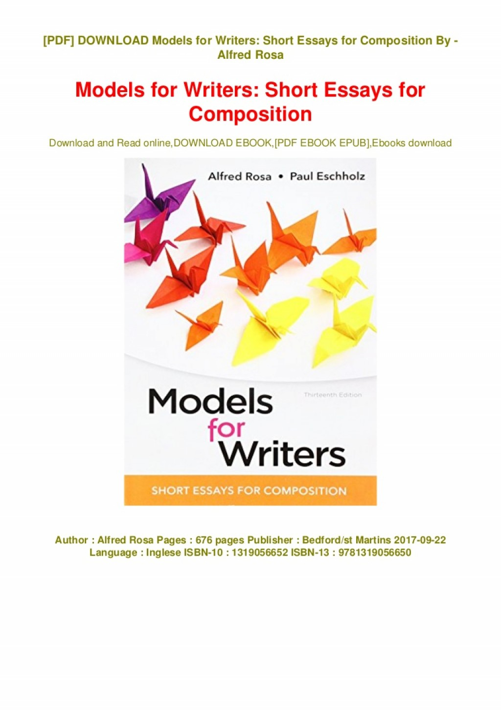 009 Essay Example Models For Writers Short Essays Composition Pdf Ebook Thumbnail Singular 12th Edition 13th Large