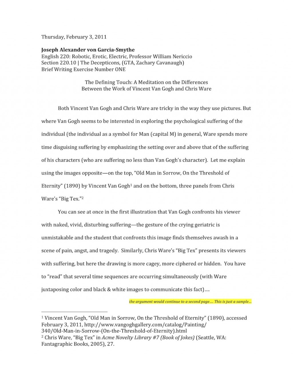 009 Essay Example Nericcio Sampleessay1 Unique Autobiography For Highschool Students Pdf Bibliography Examples Large