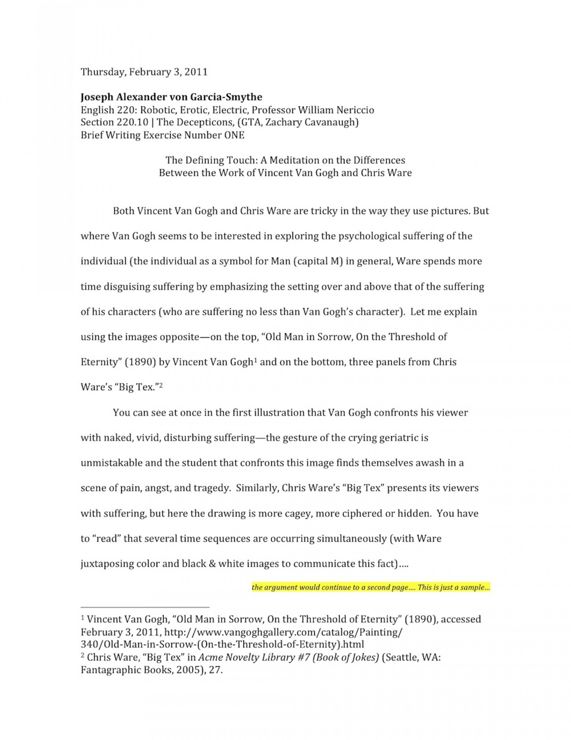 009 Essay Example Nericcio Sampleessay1 Unique Autobiography For Highschool Students Pdf Bibliography Examples 1920
