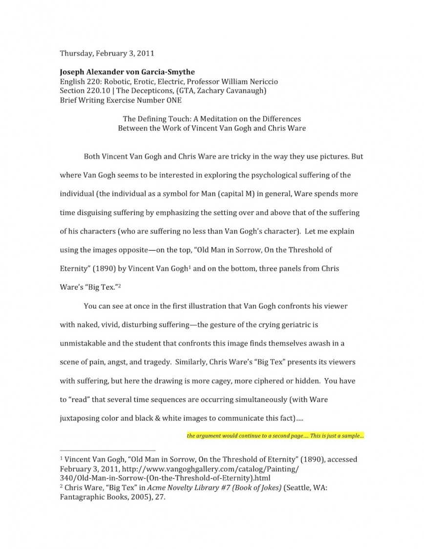 009 Essay Example Nericcio Sampleessay1 Unique Autobiography Bio Examples For College About Yourself