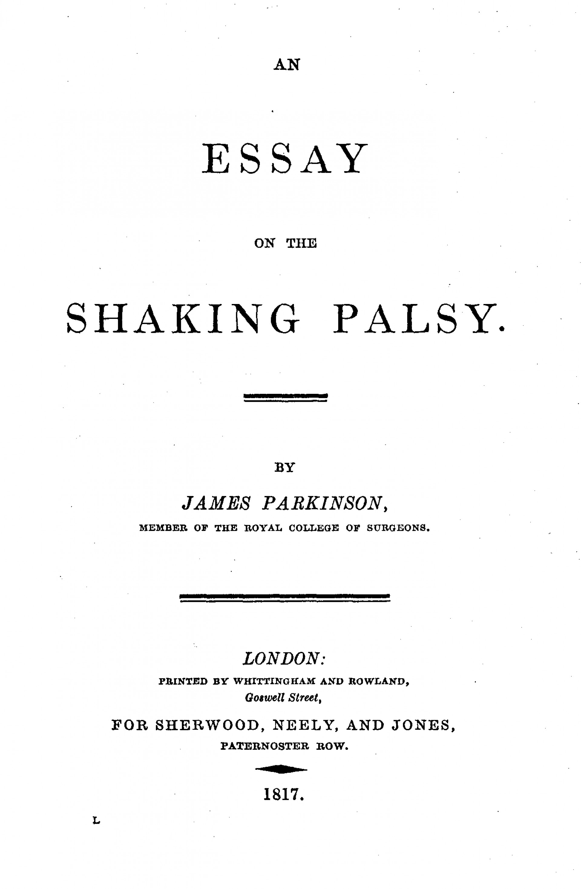 009 Essay Example Parkinson2c On The Shaking Palsy 28title Page29 What Is Cover Page For Awesome A An Does 2 Look Like Two Should I Put Of 1920