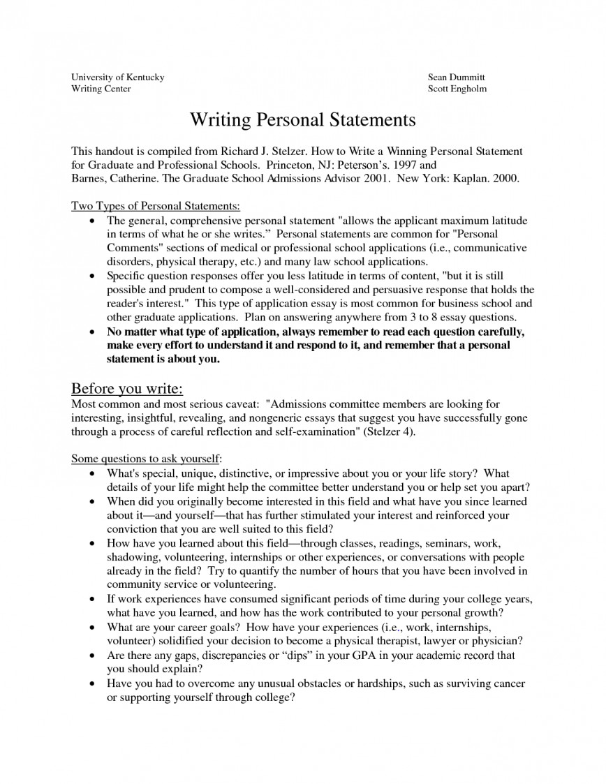 009 Essay Example Personal Statement Stirring Examples Pdf For Graduate School High