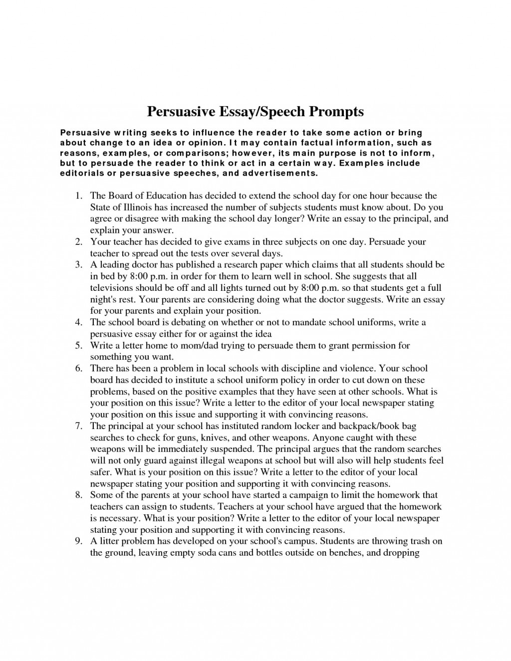 009 Essay Example Persuasive Prompts Argumentative Topics For High Awesome School Middle Schoolers Students Large