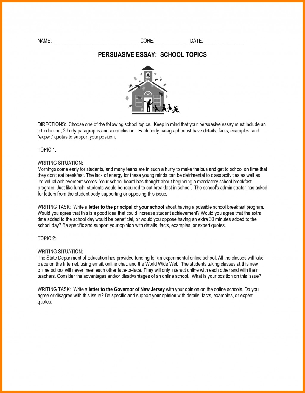 009 Essay Example Persuasive Topics Middle School High Essays Uniforms Examples For Address Ex About Speech Education Rules Issues Uniform Imposing Students Interest Pdf Prompts Large