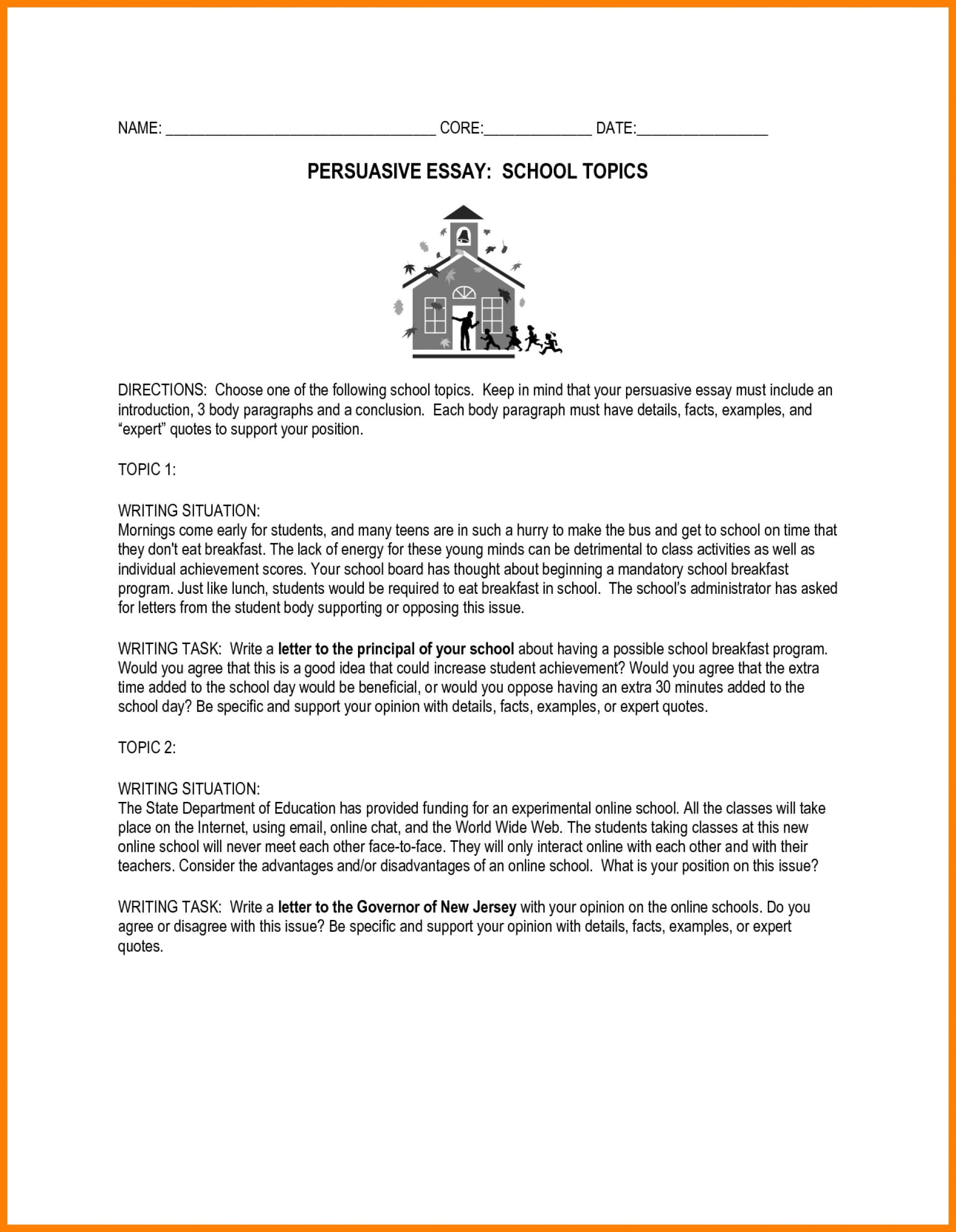 middle school persuasive essay