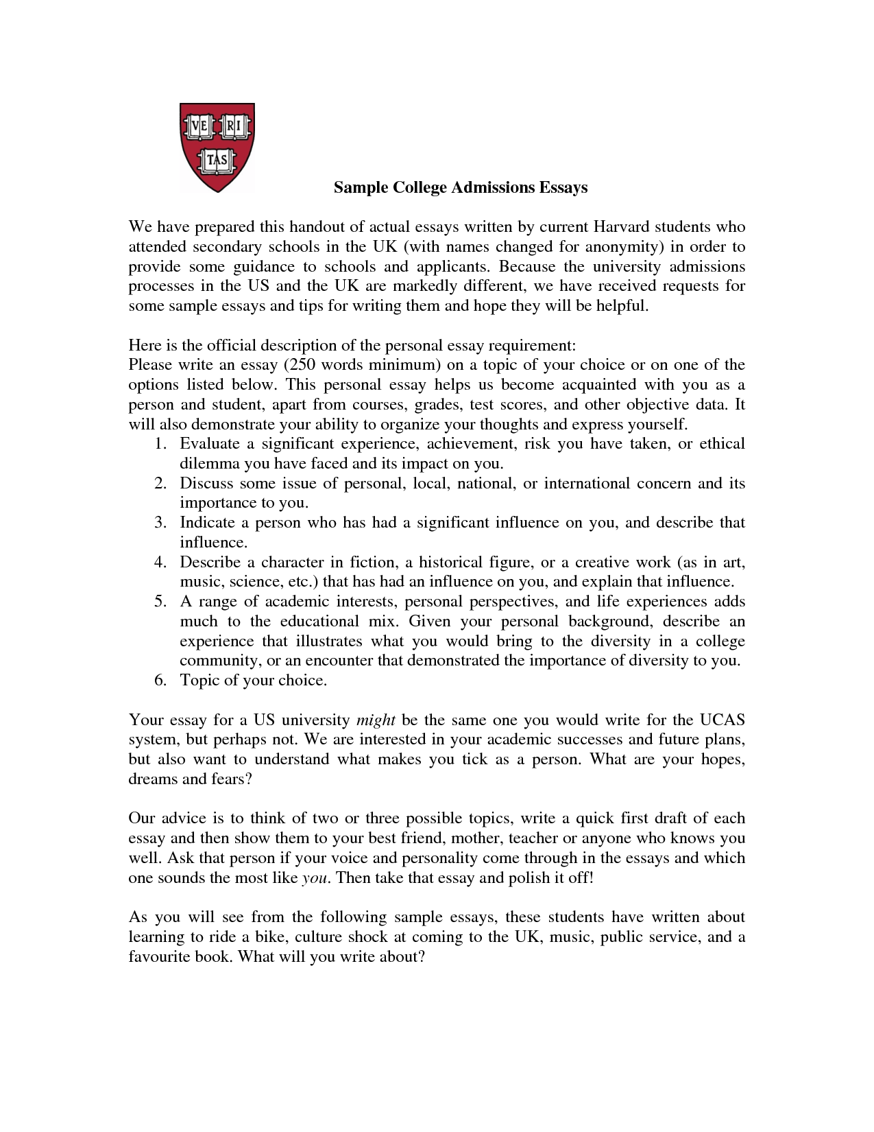 009 Essay Example Private High School Admission Imposing Examples Sample Full