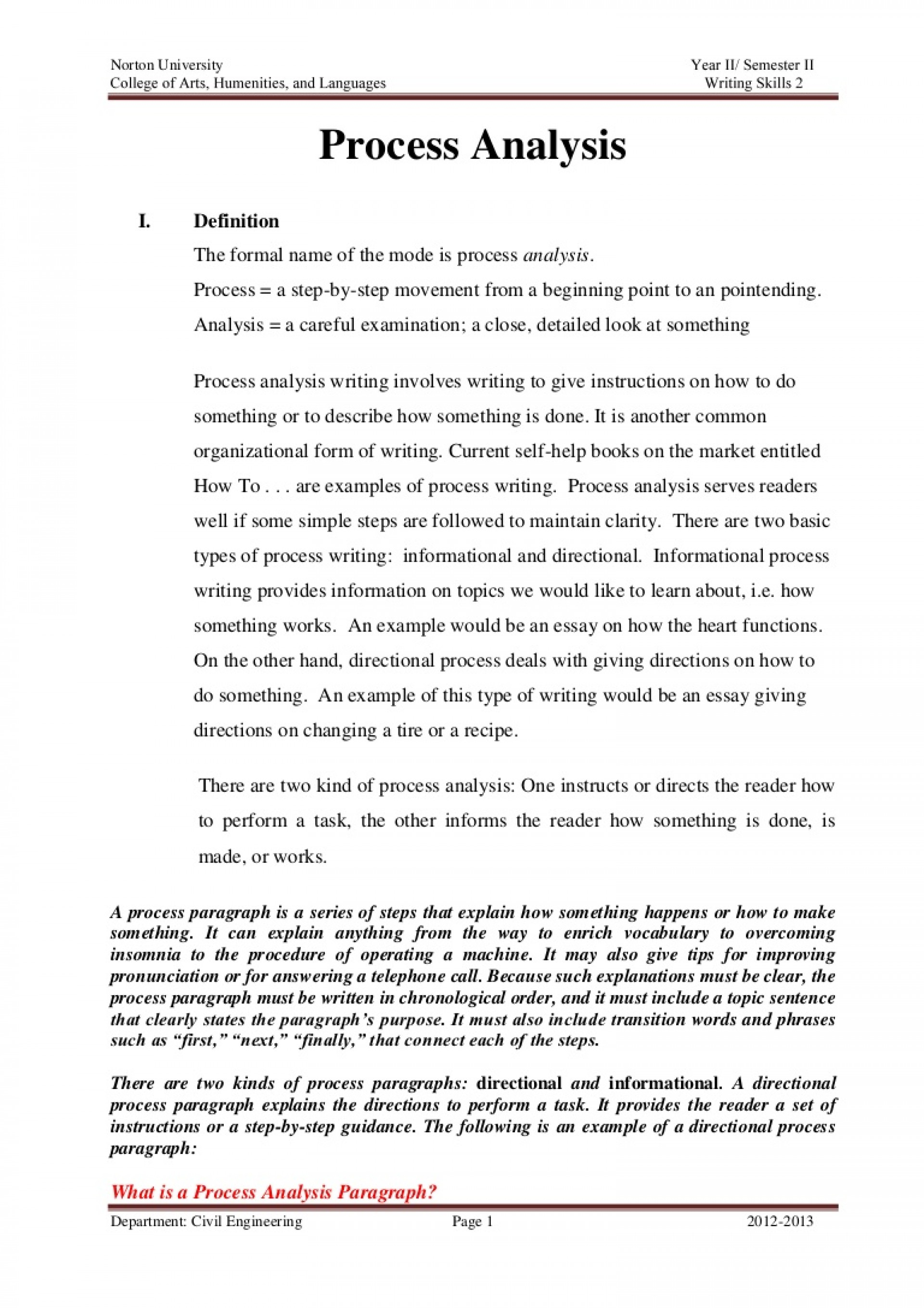 009 Essay Example Process Topics Processanalysisassignment Phpapp02 Thumbnail Marvelous For College Examples Middle School Funny 1920