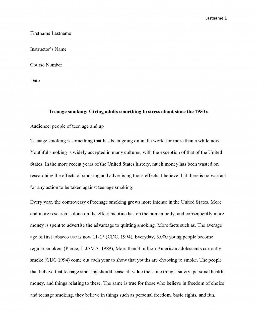 009 Essay Example Teen Smoking Free Sample Page 1 Surprising Editorial Pdf Examples Large