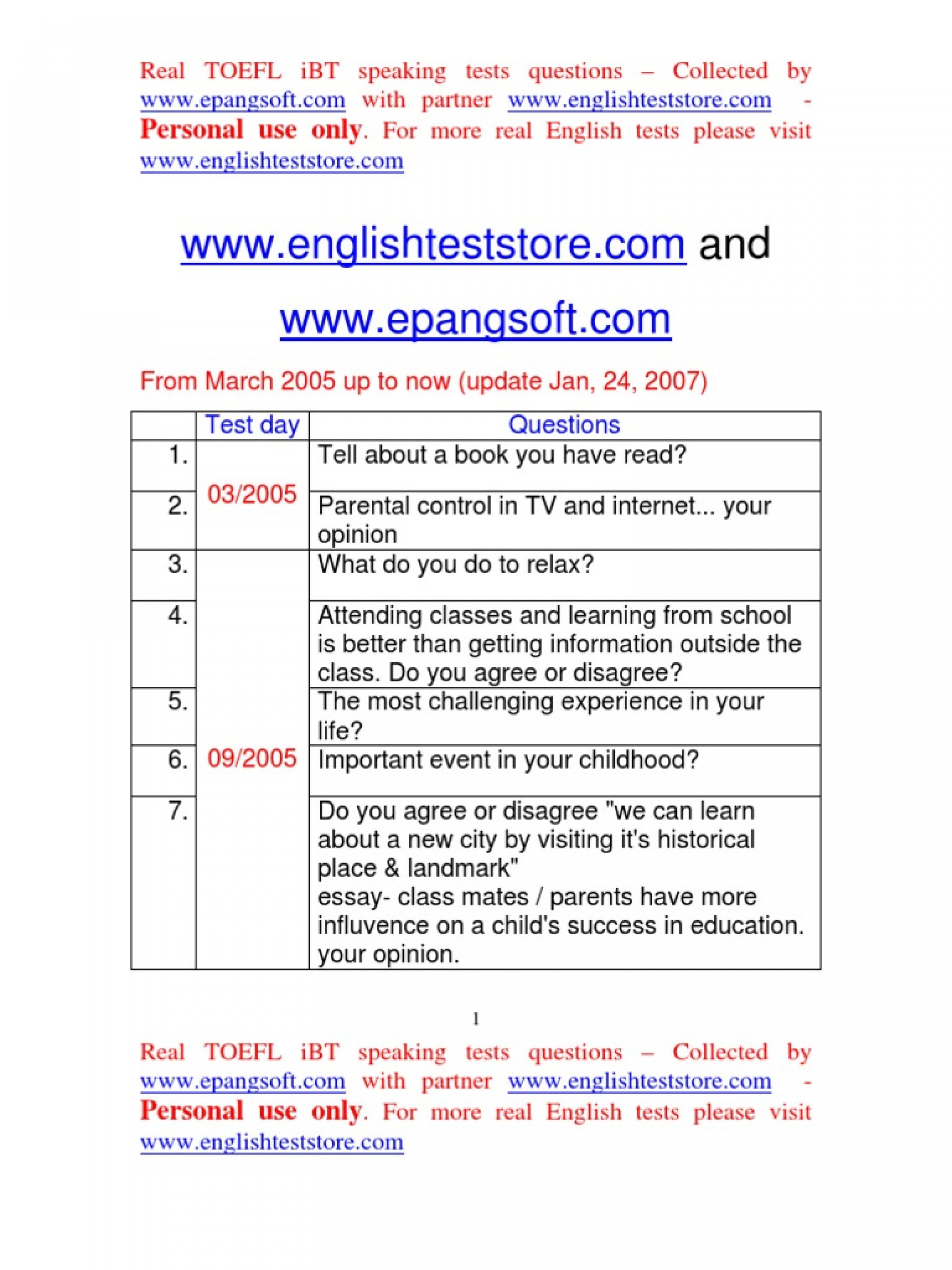009 Essay Example Toefl Topic Preparat Oacute Rio Nashville Docshare Tips Real Ibt Speaking Test Questions From March  58517c54b6d87f49628 Taking For Topics Striking 20151920