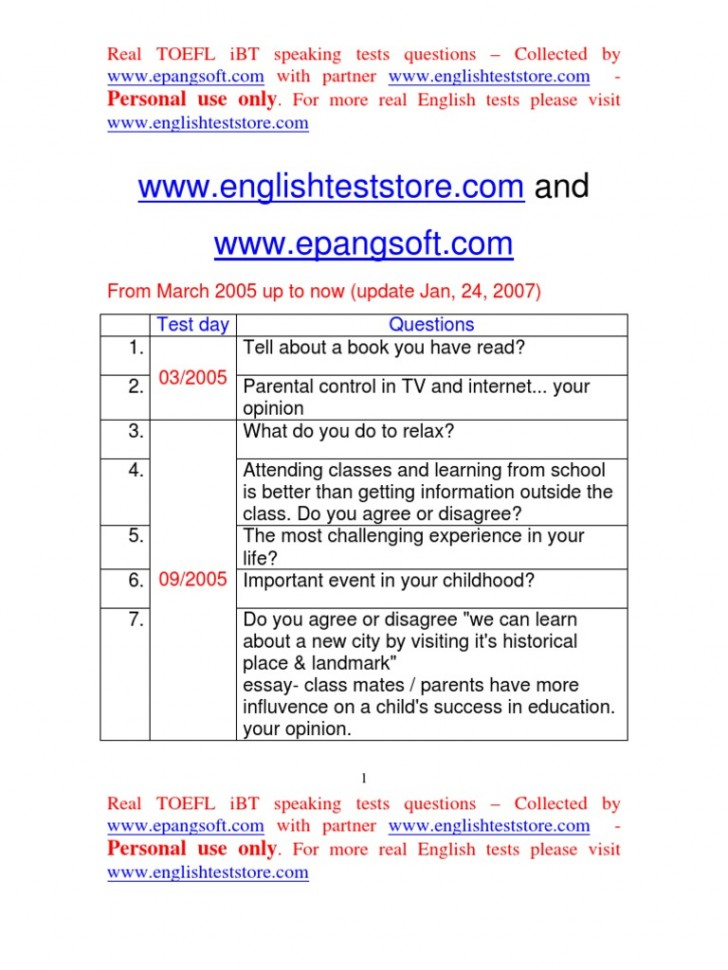 009 Essay Example Toefl Topic Preparat Oacute Rio Nashville Docshare Tips Real Ibt Speaking Test Questions From March  58517c54b6d87f49628 Taking For Topics Striking 2015728
