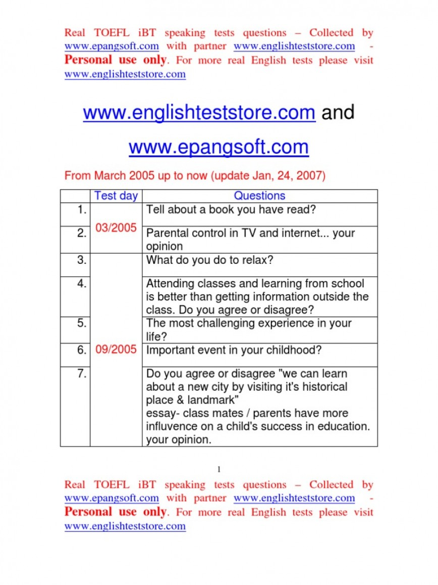 009 Essay Example Toefl Topic Preparat Oacute Rio Nashville Docshare Tips Real Ibt Speaking Test Questions From March  58517c54b6d87f49628 Taking For Topics Striking 2015868