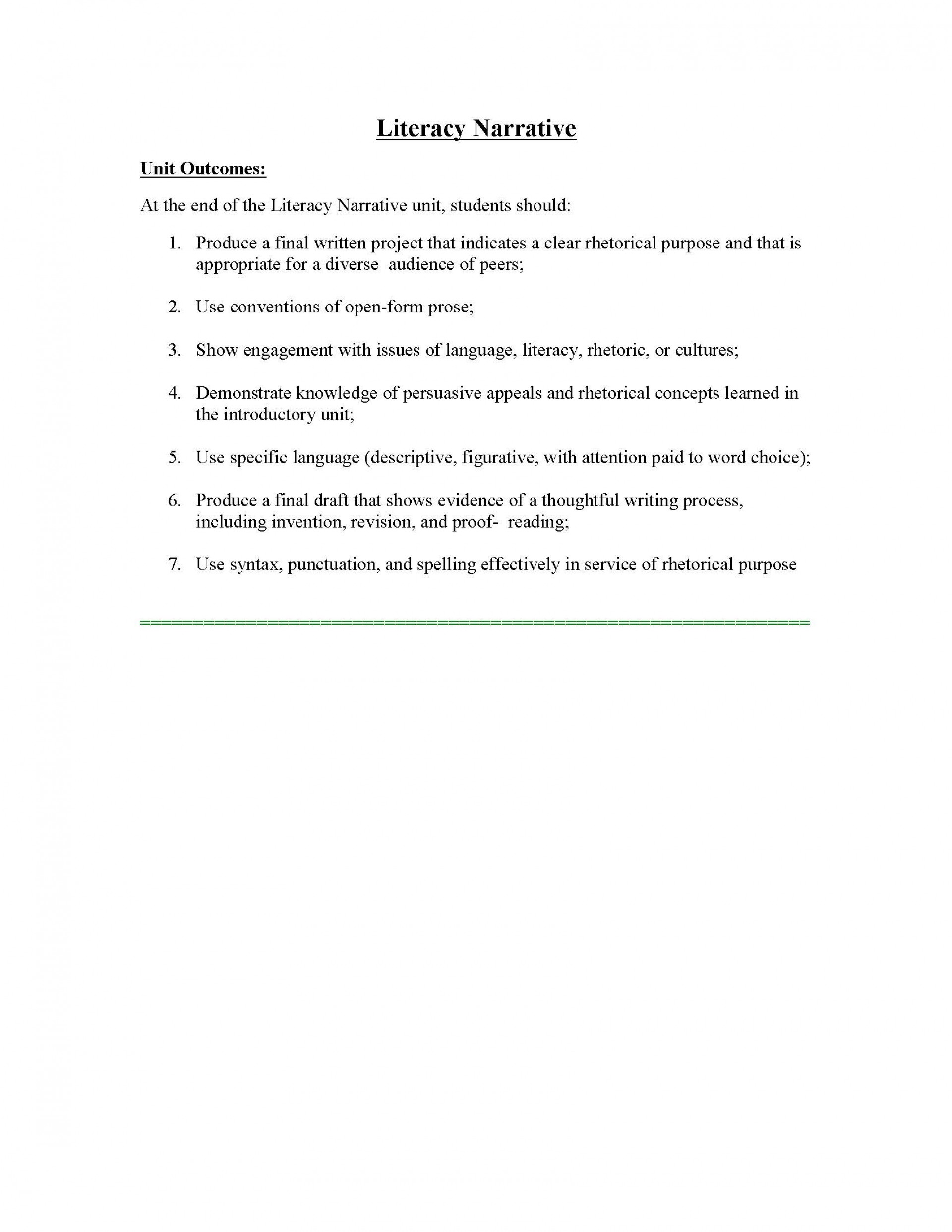 009 Essay Example Unit 1 Literacy Instructor Copy Page 01 Phenomenal Narrative Personal Examples Sample Digital 1920