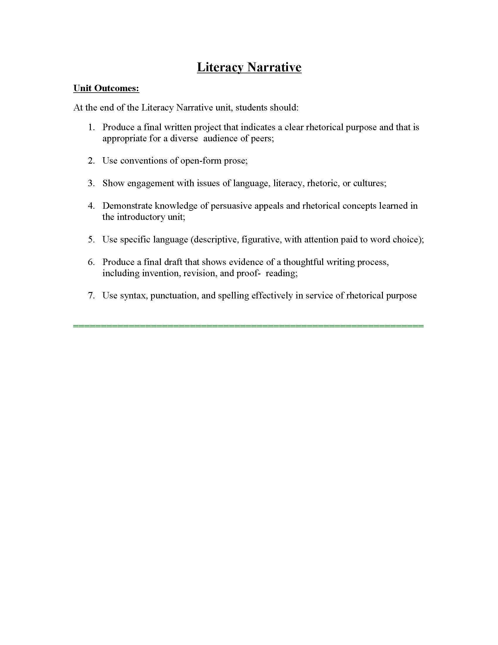009 Essay Example Unit 1 Literacy Instructor Copy Page 01 Phenomenal Narrative Personal Examples Sample Digital Full