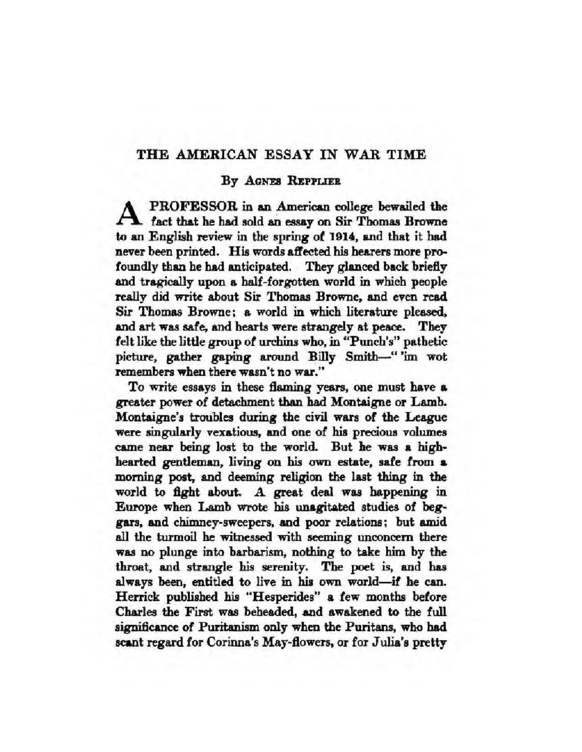 009 Essay Example What Is An American Page1 1275px The In War Time2c Agnes Repplier2c 1918 Stupendous Thesis Your Dream Ideas 1920