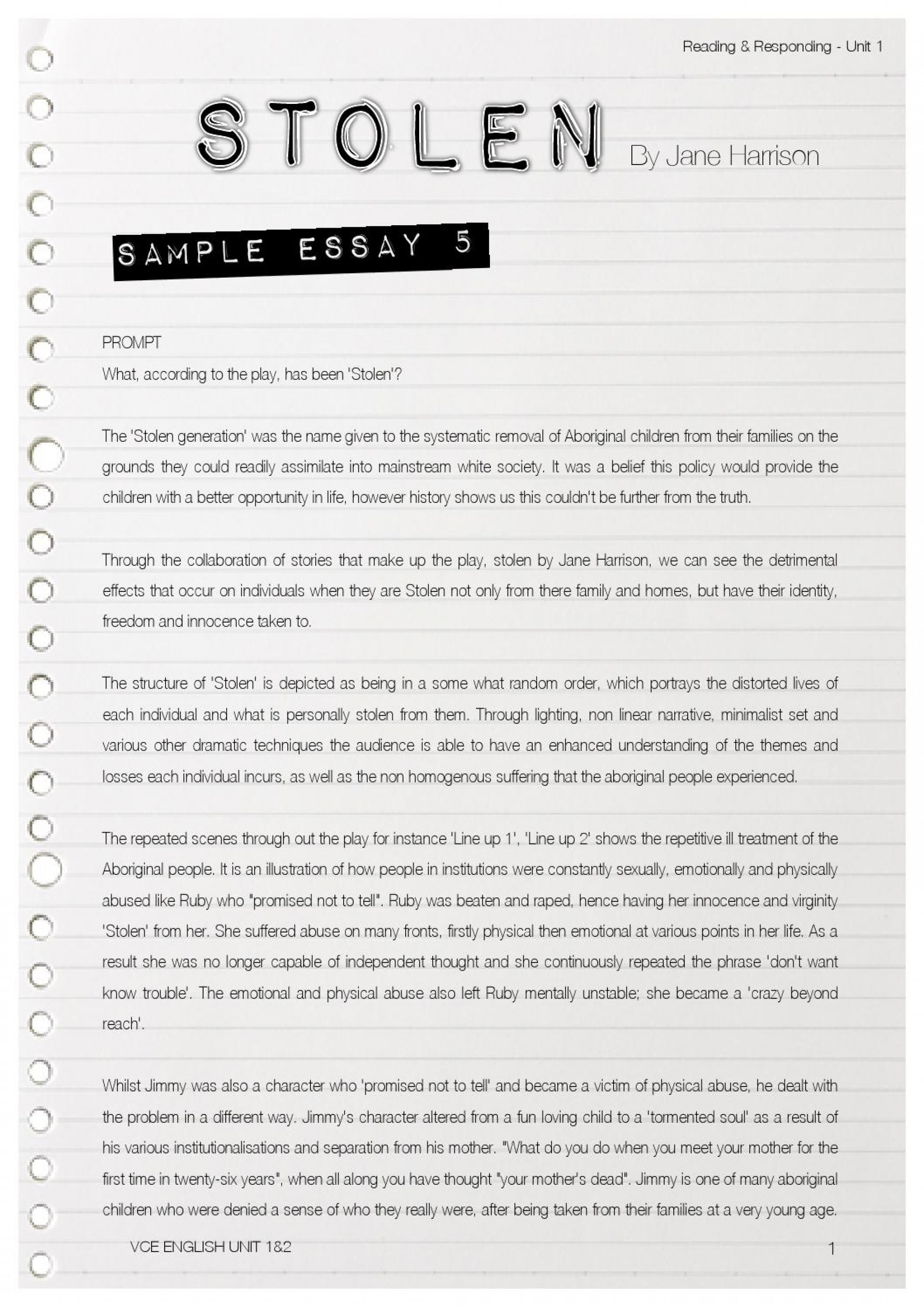 009 Essay On The Stolen Generation Example Page 1 Singular Questions Indigenous Studies Reflection 1920