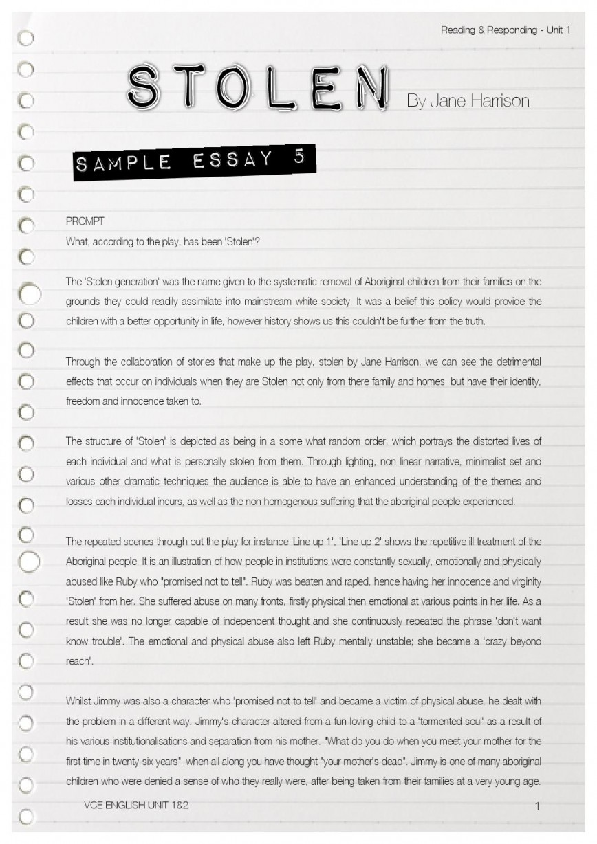 009 Essay On The Stolen Generation Example Page 1 Singular Persuasive Questions Short