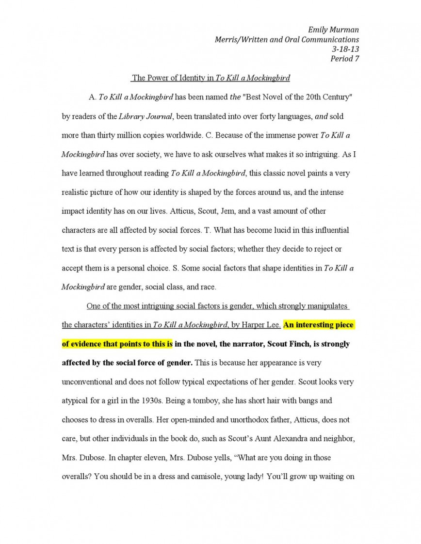 009 Essay Questions For To Kill Mockingbird Part Example Page 1 Impressive A Discussion Chapter 18 16