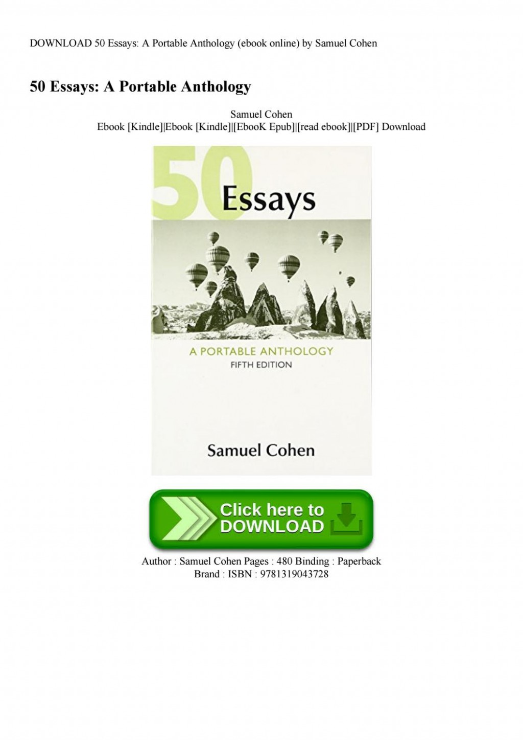 009 Essays Portable Anthology 5th Edition Pdf Page 1 Essay Fascinating 50 A Large