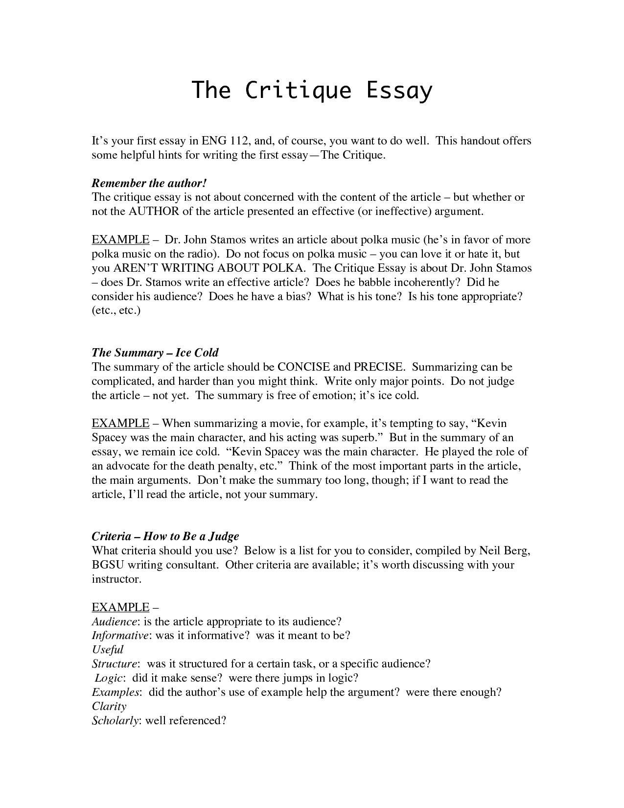 Examples of critique essays
