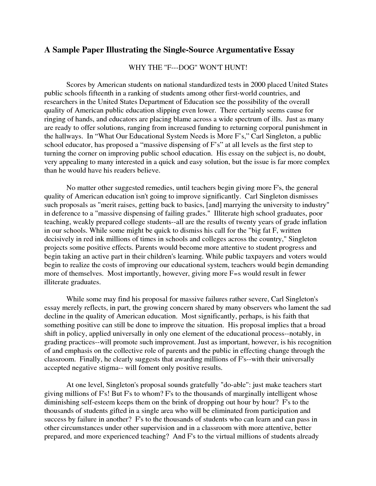 009 Example Of Argumentative Essay Incredible Outline Sample 6th Grade Full