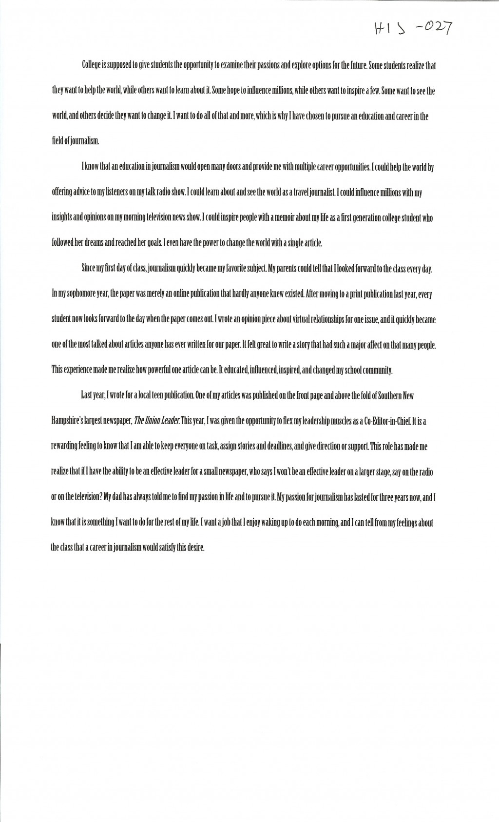 009 Examples Of Scholarship Essays Alexa Serrecchia Essay Remarkable For Nursing Writing College Students A About Yourself Large