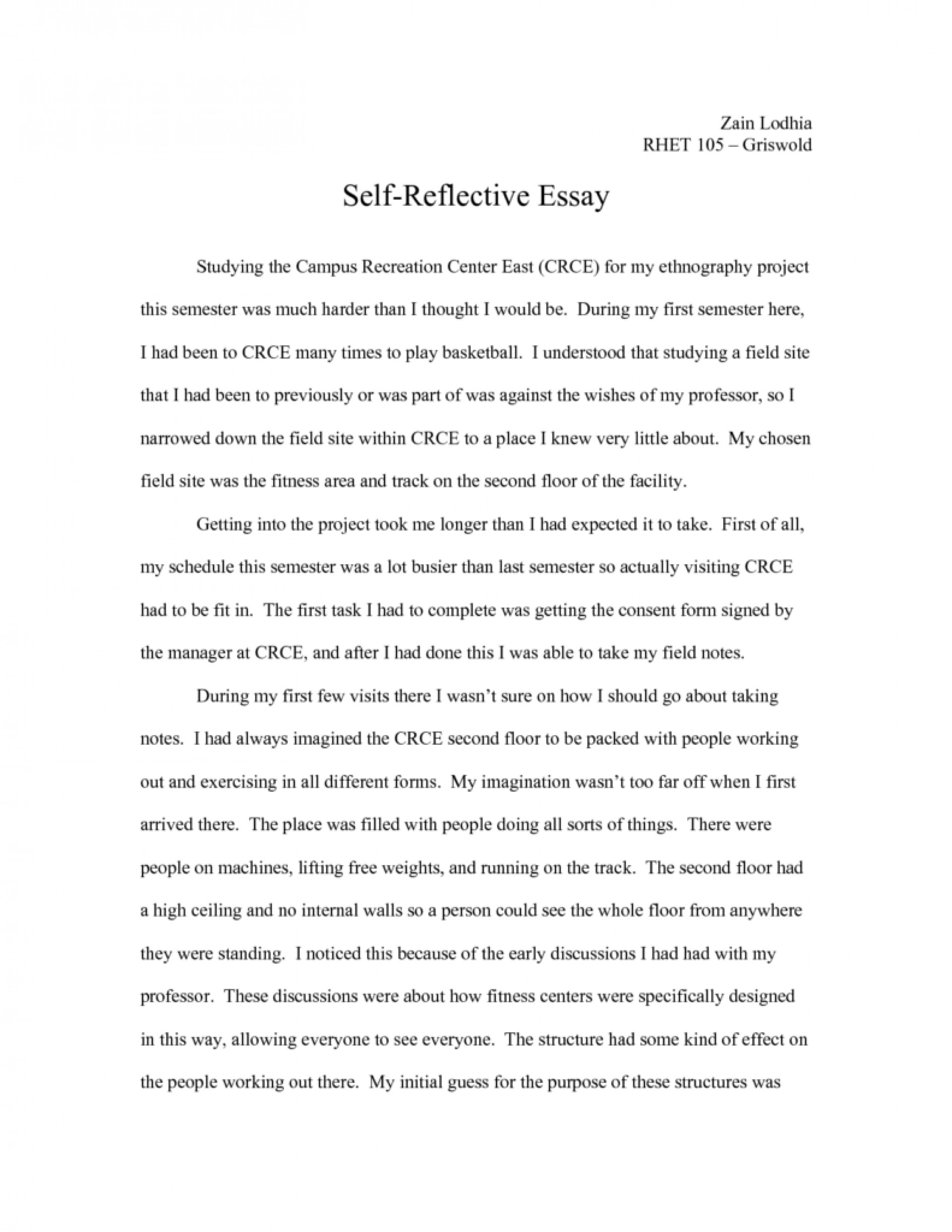 009 Examples Of Self Reflection Essay Essays Introduction Reflective Ejhet Unforgettable Example On A Class Writing