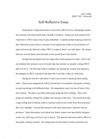 009 Examples Of Self Reflection Essay Essays Introduction Reflective Ejhet Unforgettable Example About Life Pdf High School Students Apa 360