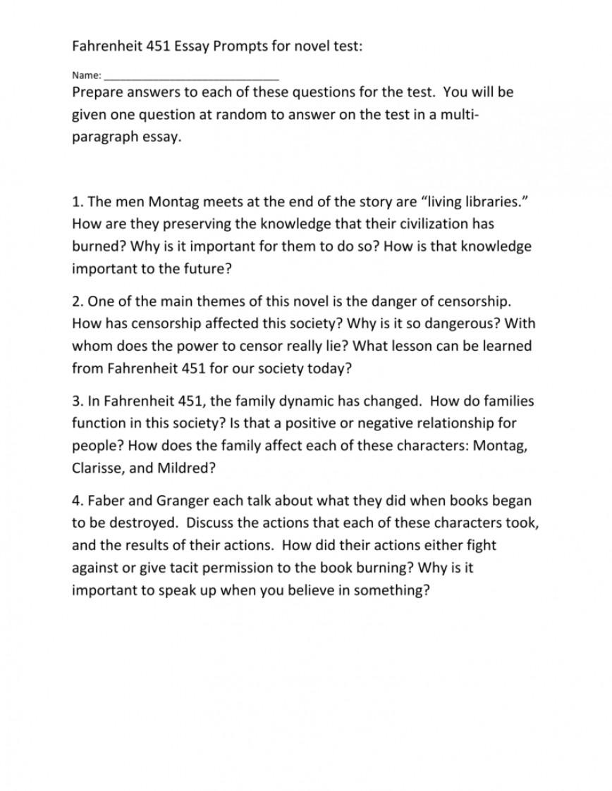Remarkable fahrenheit 451 essay introduction thatsnotus