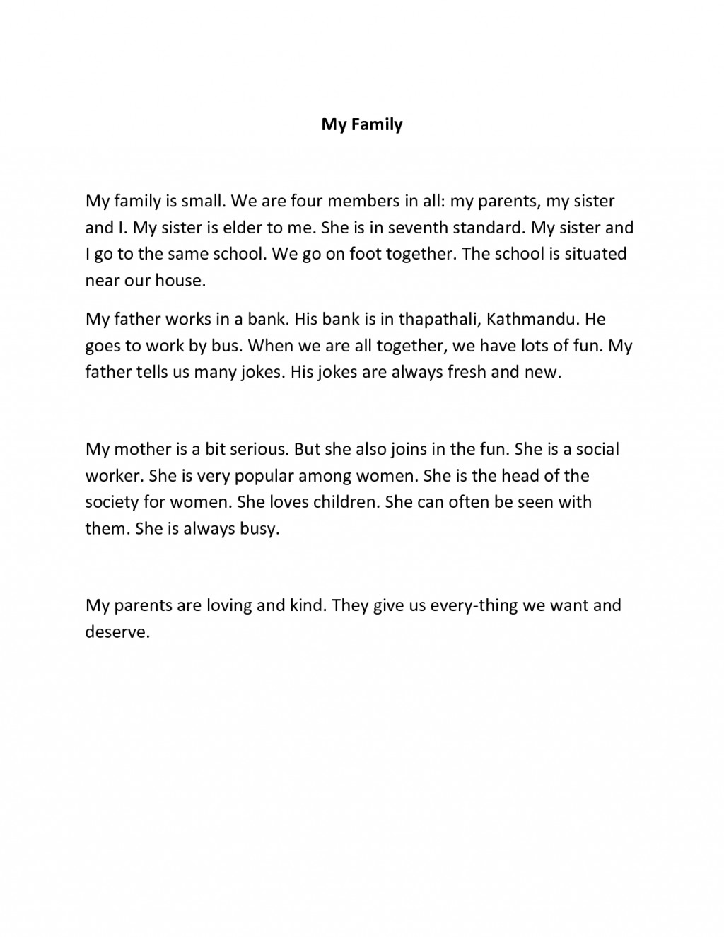 009 Family Essays Short Essay English My Example For Kindergarten On Class In German I Love About Is Always Supportive Hindi French Pet Student Impressive Examples Primary School Narrative To Read Small Spanish Large