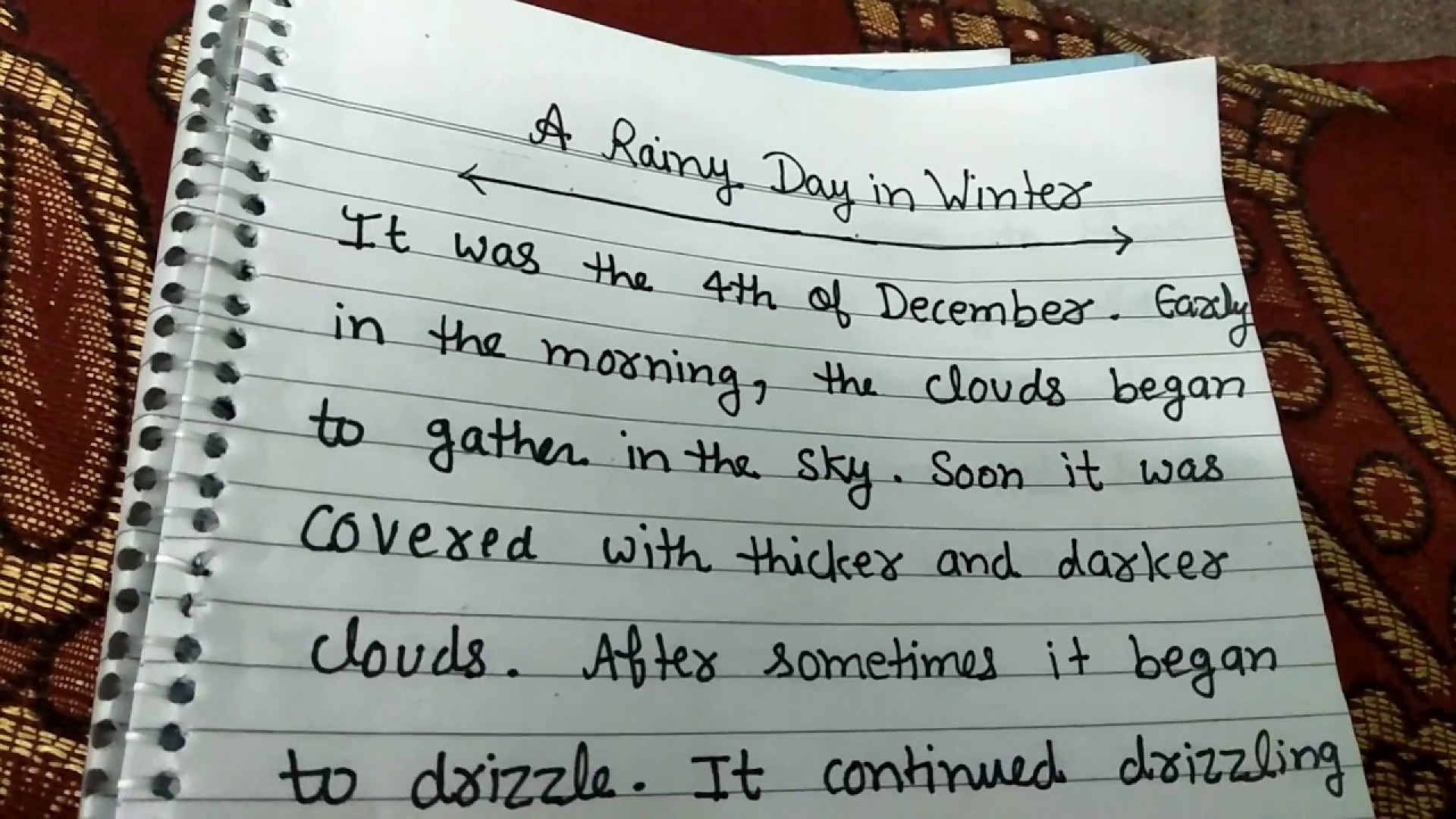 009 Favorite Day Of The Week Essay Example Rainy In Winter Short Smart And Easy For Kids My Favourite Writing Outstanding Sunday Is 1920