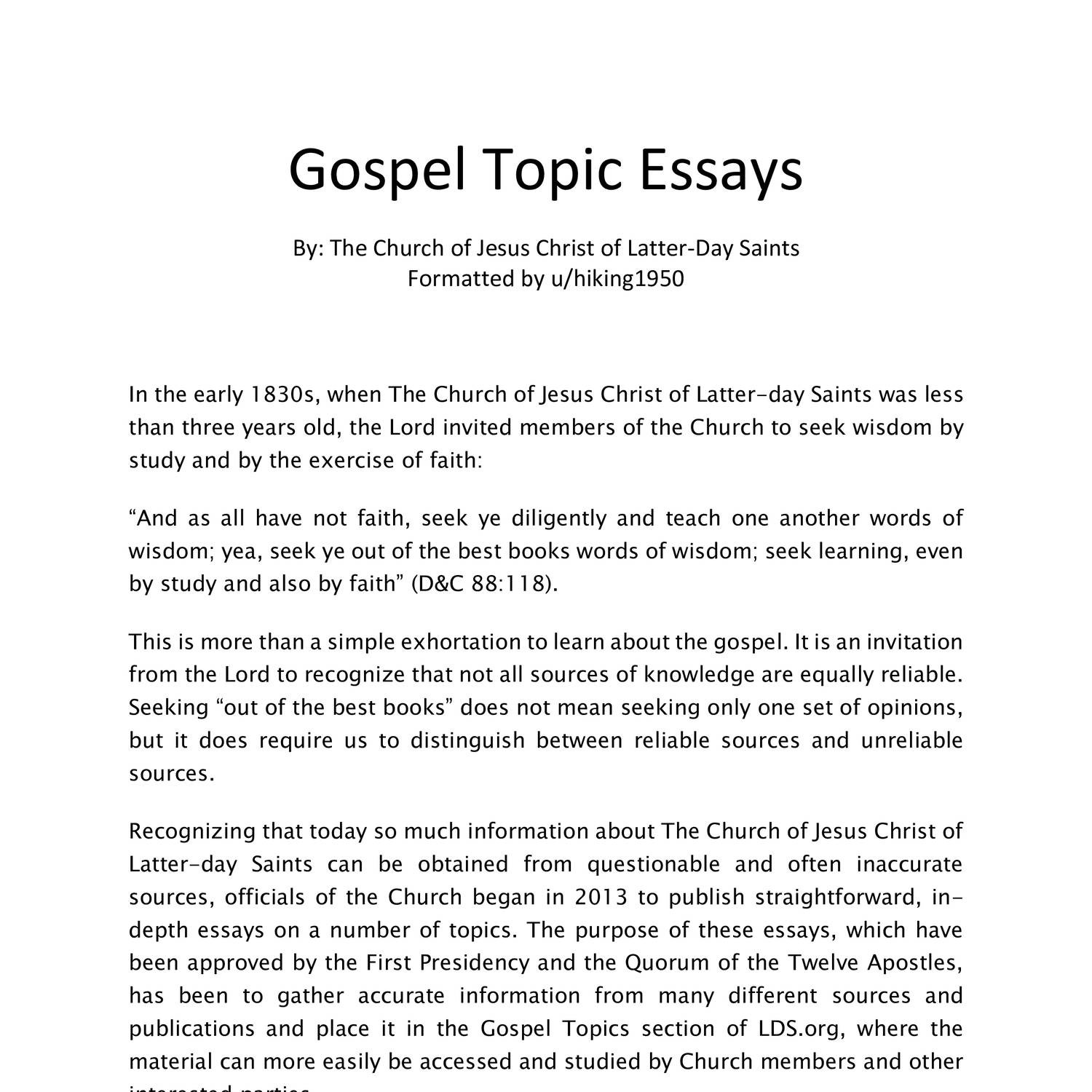 009 Gospel Topics Essays Topic Essay Outstanding Pdf Plural Marriage Becoming Like God Full