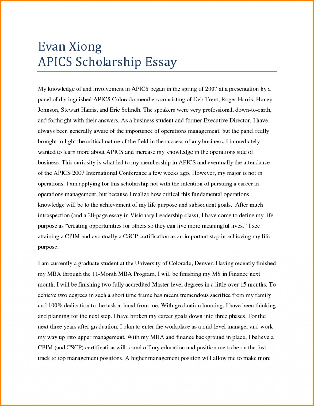009 How Start Leadership Essay Scholarship To My Off About Striking A Yourself Examples Large