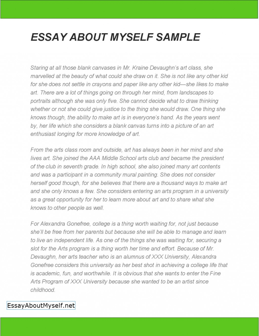 009 How To Start An Essay About Myself Example Unique Off Yourself For College A Job Large