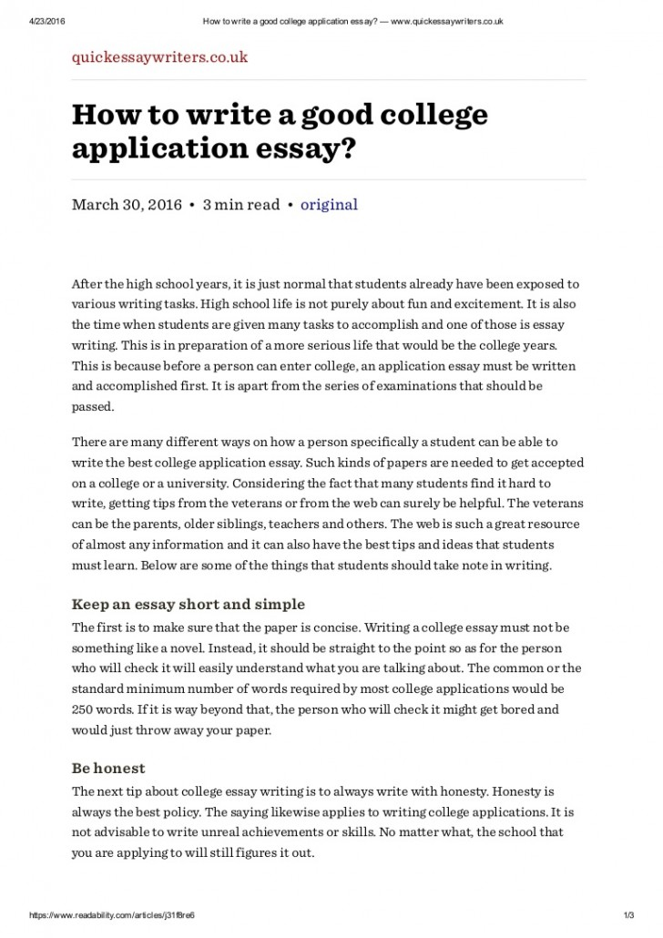 009 Howtowriteagoodcollegeapplicationessaywww Thumbnail Essay Example Writing College Rare A Application How To Write Outline Tips For Entrance 728