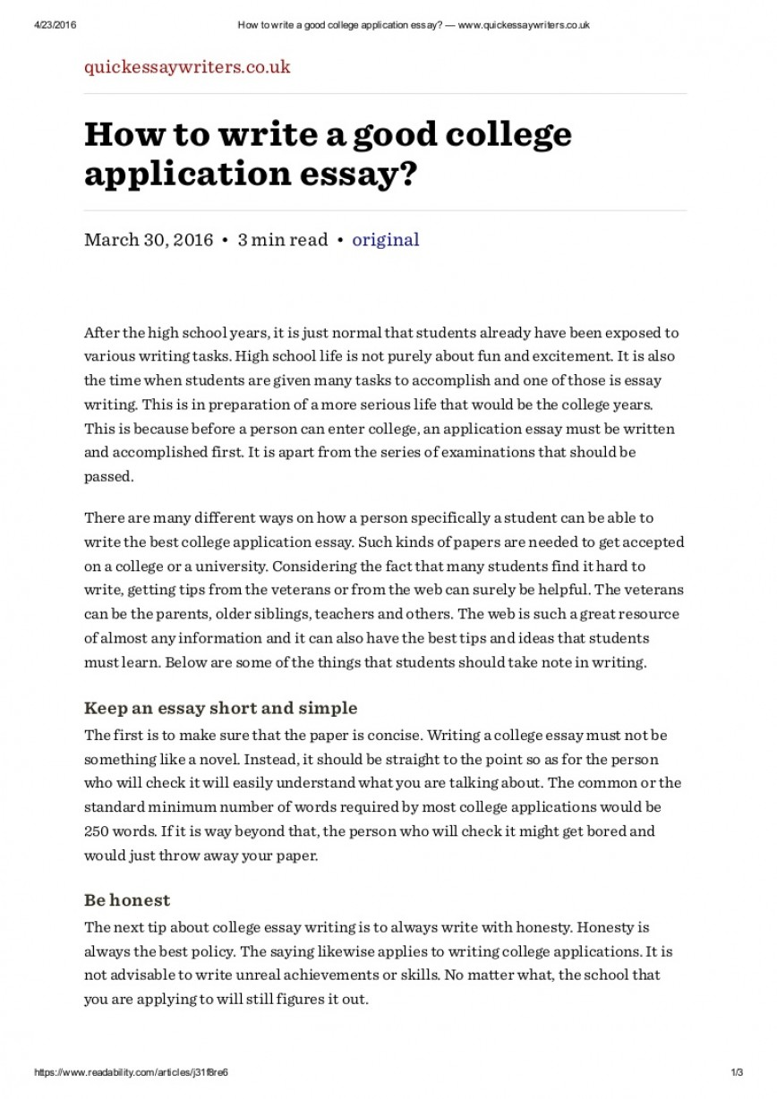009 Howtowriteagoodcollegeapplicationessaywww Thumbnail Essay Example Writing College Rare A Application How To Write Outline Tips For Entrance 868