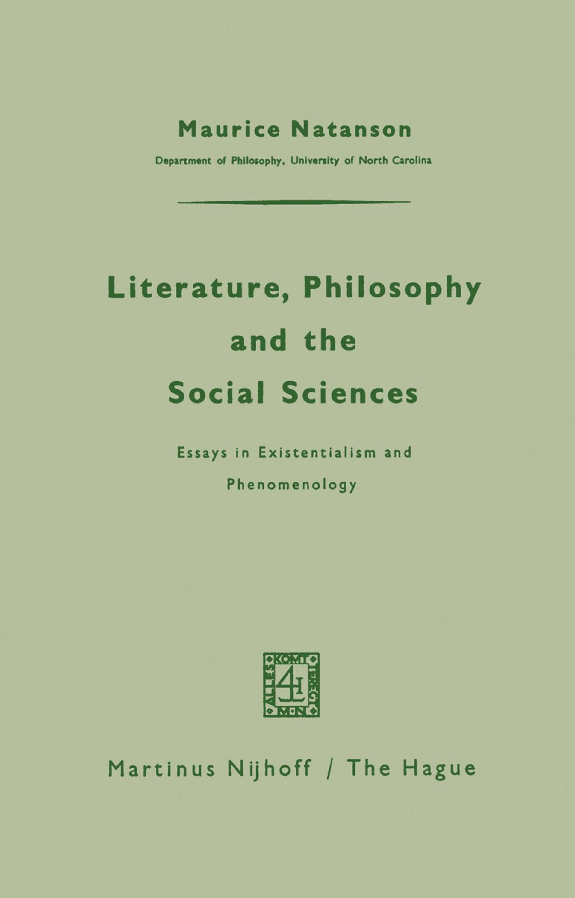 009 Literature Philosophy And The Social Sciences Essay Example Essays In Outstanding Existentialism Pdf Sartre 1920