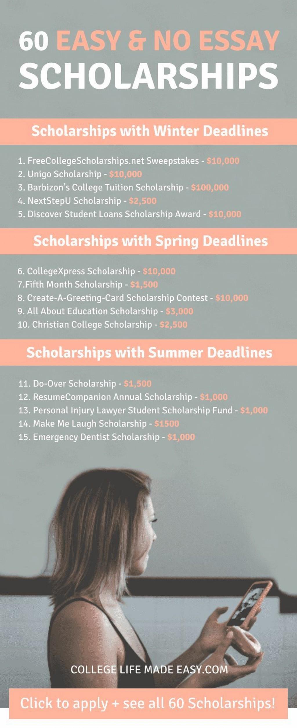 009 No Essay College Scholarships Imposing For Freshmen Easy Scholarship Legit Large