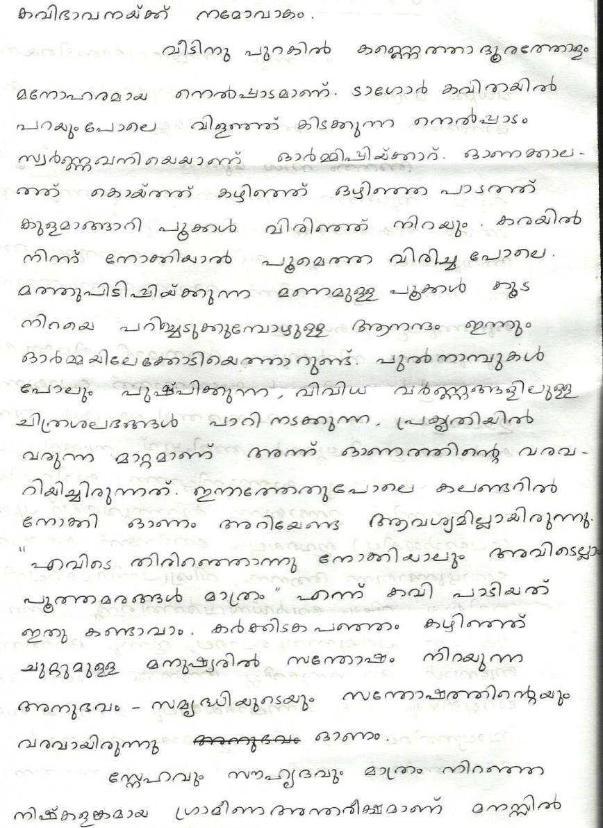 009 Onam2 Essay Example Childhood Unique Memories Paragraph In Hindi Telugu