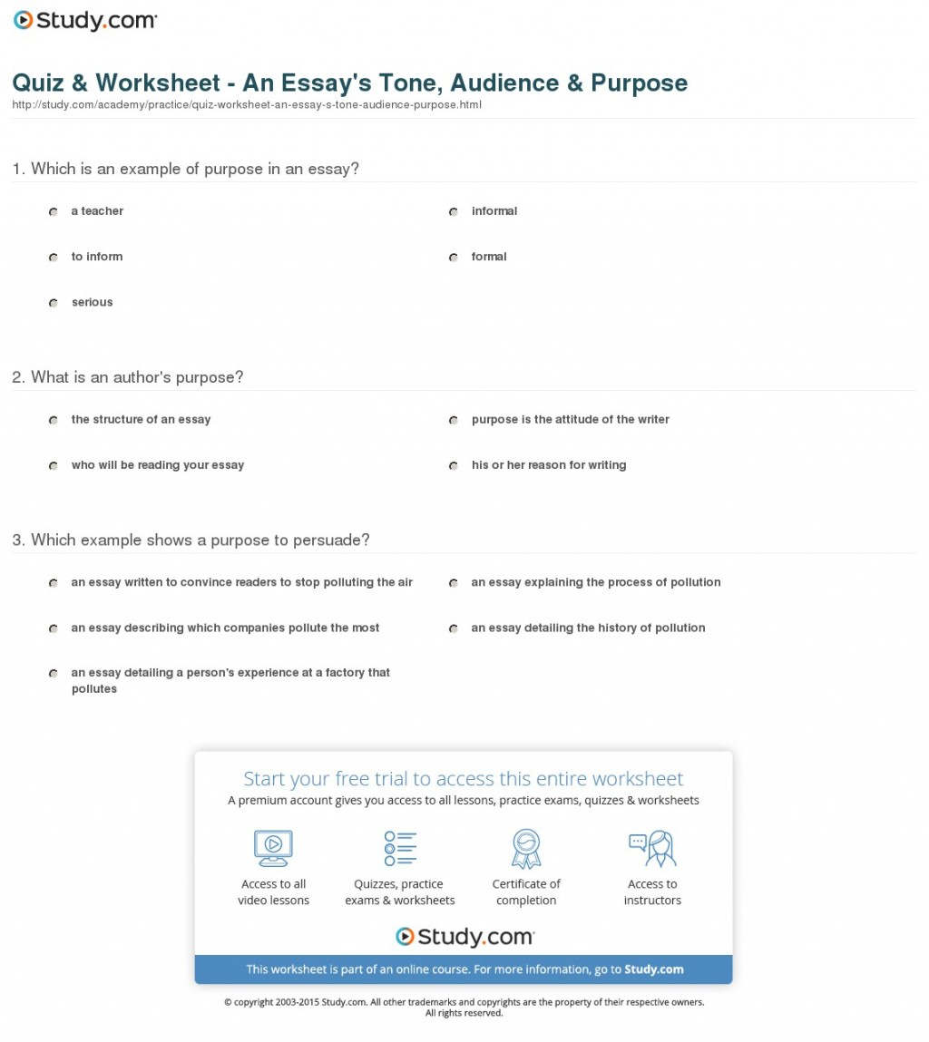 009 Quiz Worksheet An Essay S Tone Audience Purpose Example Striking Of Expository Is To Answer The Question Statement Large