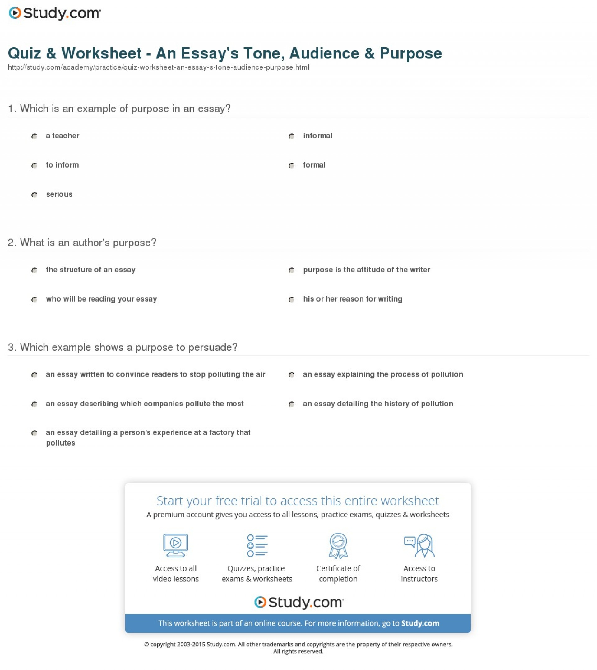 009 Quiz Worksheet An Essay S Tone Audience Purpose Example Striking Of Expository Is To Answer The Question Statement 1920