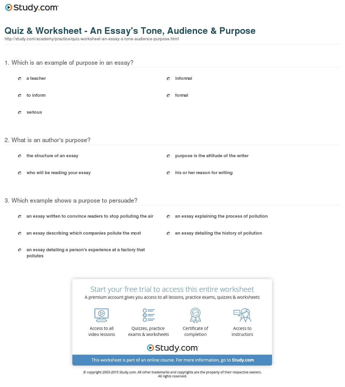 009 Quiz Worksheet An Essay S Tone Audience Purpose Example Striking Of Expository Outline For Argumentative Full