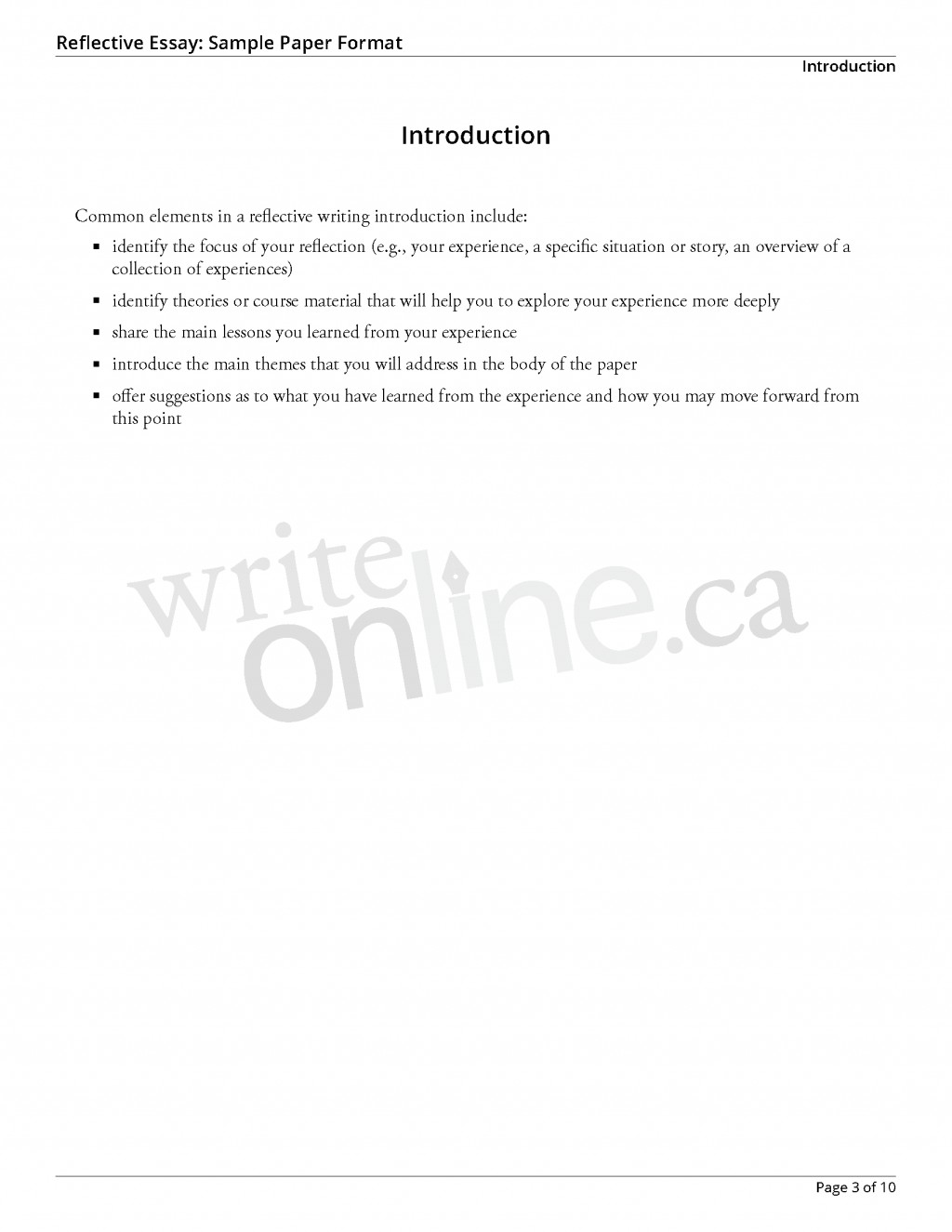 009 Reflectiveessay Sample Page 3 Essay Example How To Start Reflective Surprising A Introduction Do You An Write For Large