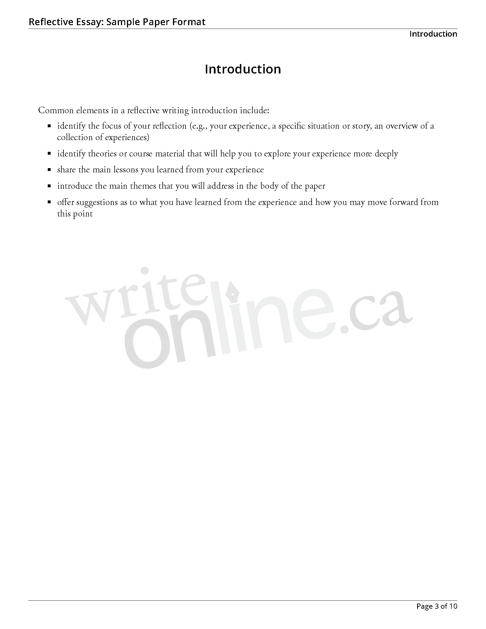 009 Reflectiveessay Sample Page 3 Essay Example How To Start Reflective Surprising A Introduction Write An Full