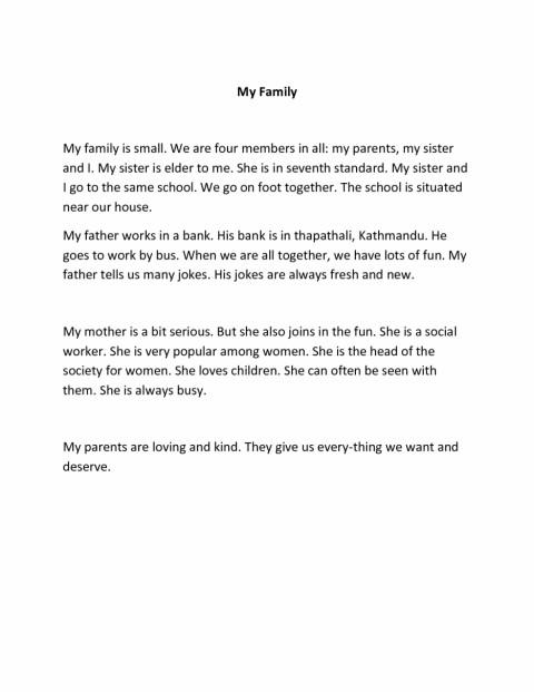 009 Sample Short Essay Family Essays English My Example For